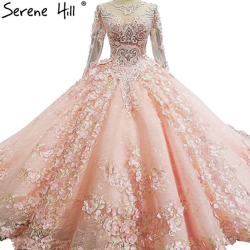 3D flores Encaje Vestidos de novia manga larga princesa de lujo del ...