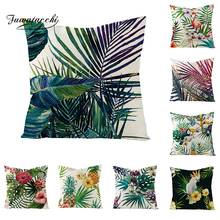 Fuwatacchi Tropical Forest View Cushion Cover Linen Flamingo Parrot Pineapple Throw Pillow Palm Leaves Pillowcases 45X45