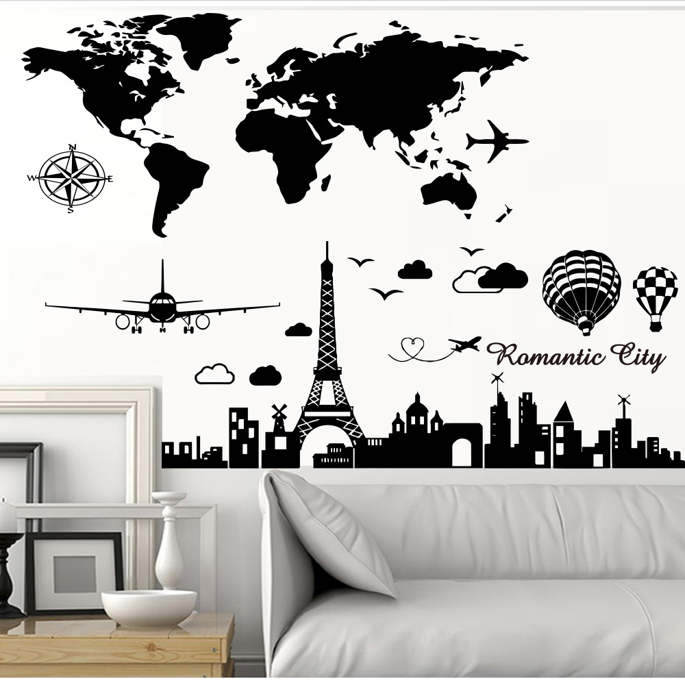 Romantic Wall Sticker Hot Air Balloon Tower Art World Map