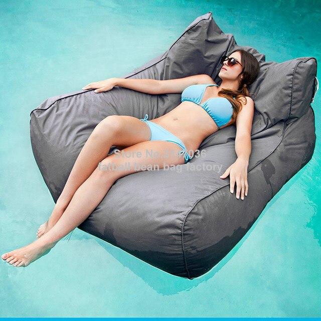 Cinza de luxo de grandes dimensões do pacífico acomodar confortavelmente dois adultos beanbag float, piscina flutuante mobiliário sofá do saco de feijão ao ar livre