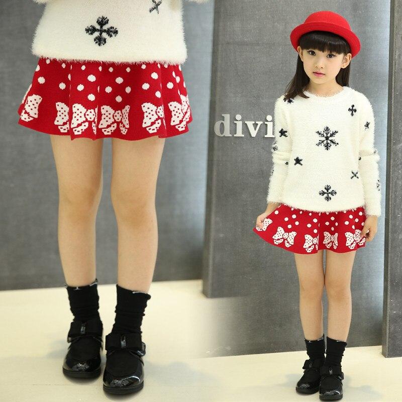 1f6536ac6 Meninas novas Outono Inverno de Malha de Todos Os Match Crianças Arcos Dots  Impressão Saia de Lã Preto Vermelho