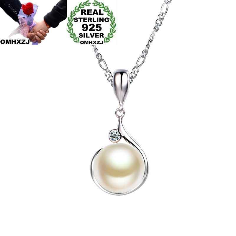 OMHXZJ Wholesale European Fashion Woman Girl Party Gift White Pearl AAA Zircon 925 Sterling Silver Necklace Pendant Charm CA23