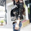 2016 New Spring and Autumn Women Fashion Brand PU Leather Coat Lady Zipper Cool Plus Size Solid Locomotive Jacket In Stock 0856