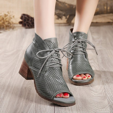 2017 Classic Cross strap sandals women genuine leather fish mouth shoes female sandals thick with hollow shoes