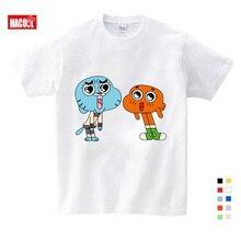 Fashion Sales the amazing world of gumball t shirt  Darwin Good T-Shirt Novelty Cool Tops Boy Short Sleeve white T Shirt 3T-9T