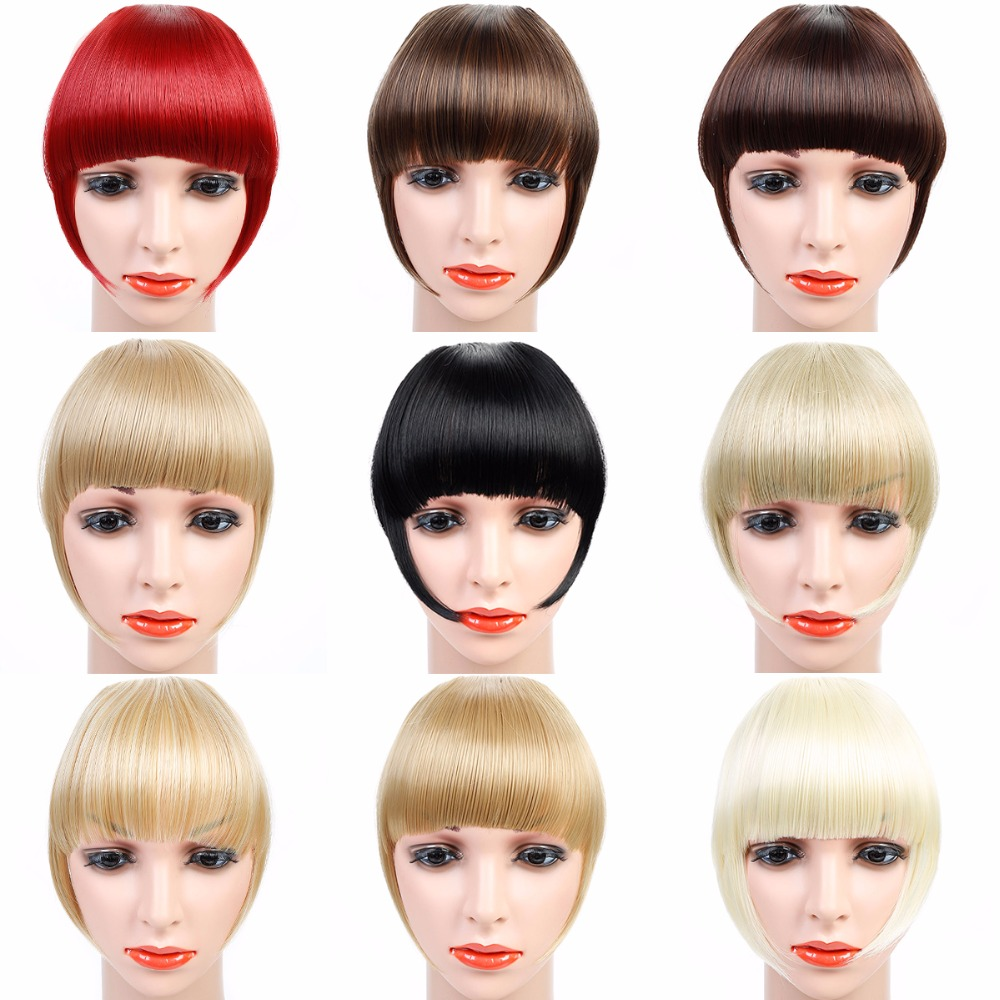 JINKAILI Thick Natural Bangs False Hair Bangs Black Brown Blonde Auburn Clip In on Synthetic Hair Fringe