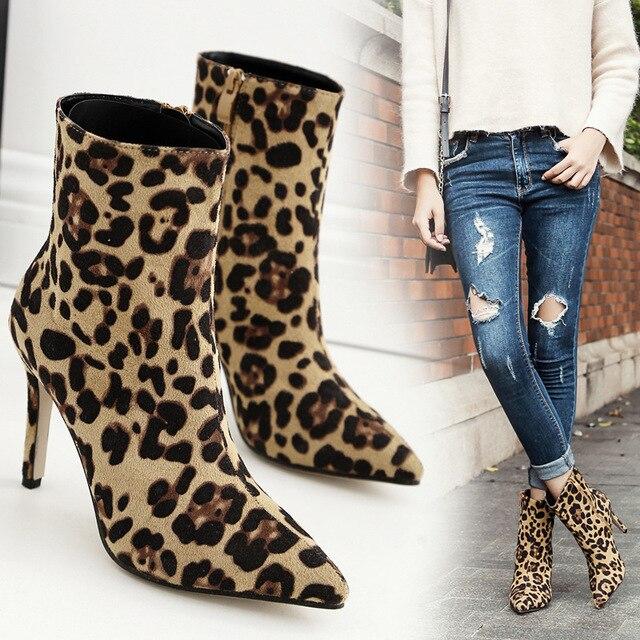 2018 женская обувь, сексуальные женские ботильоны из флока на высоком каблуке 10 см, с острым носком, на молнии, с леопардовым принтом, короткие зимние Ботинки martin, женская обувь