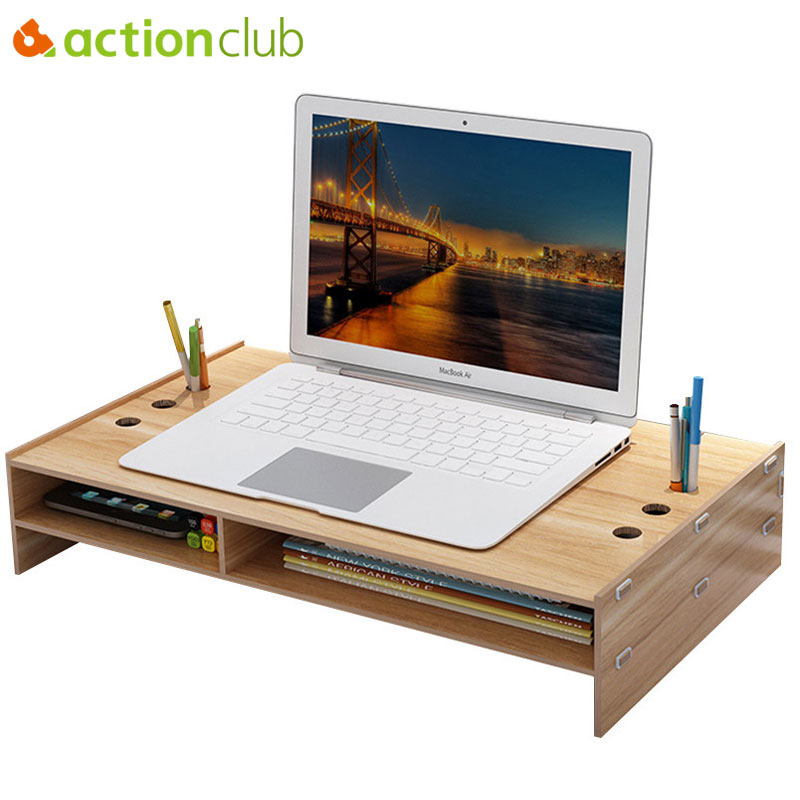Actionclub moniteur de bureau en bois support de colonne montante sur clavier organisateur de bureau boîte de rangement pour ordinateur portable TV