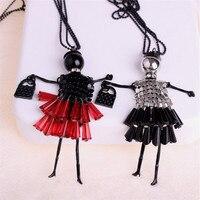 Mdiger 도매 여성 패션 소녀 인형 펜던트 목걸이 스웨터 체인 드레스 인형 목걸이 수제 인형 펜던트 5 개/