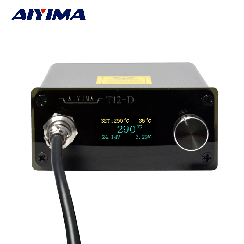 Aiyima AC 110V 220V OLED T12 Digital Soldering Iron Station Temperature Controller 72W With EU Plug + T12 Handle + T12-K Tip New lf005 t12 digital soldering station handle t12 i solder tip for bk950d