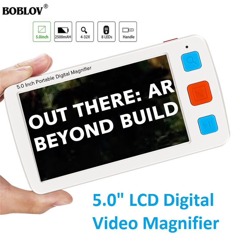 """5.0"""" LCD Colorful Electronic Digital Magnifier 4-32X Reading Aid 17 Color Modes EyesightAiding For Elderly Video Magnifier"""