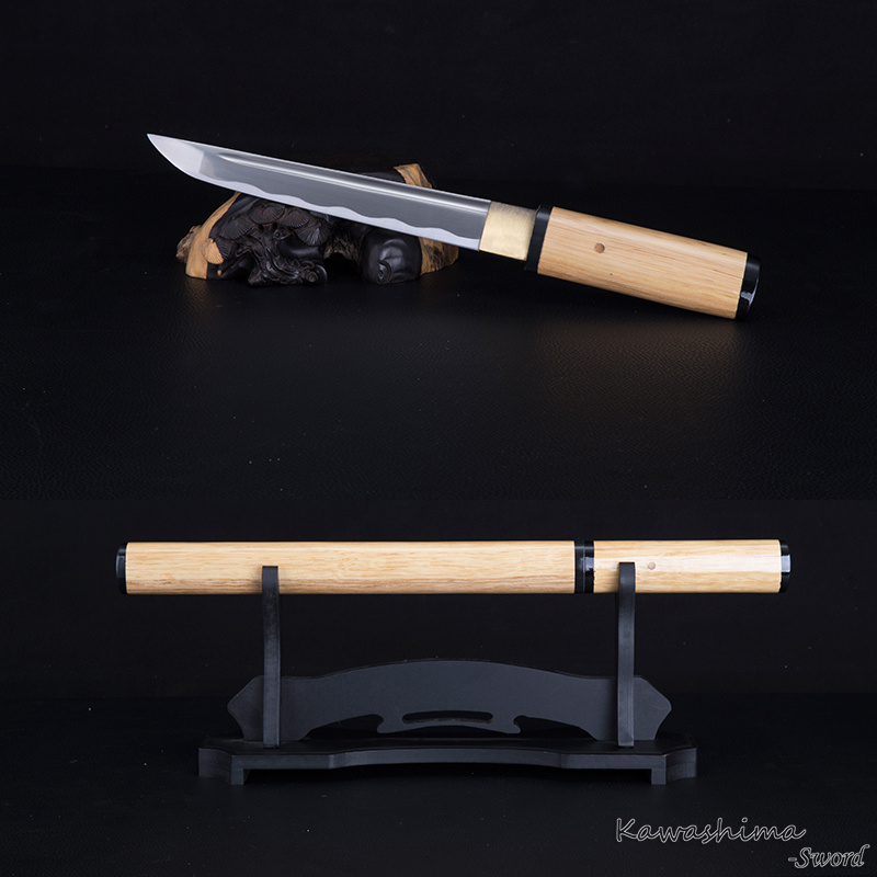 Handmade Japanese Tanto 1045 Carbon Steel  Dagger Short Sword  Samurai Shirasaya Natural Wood Scabbard Sharpness