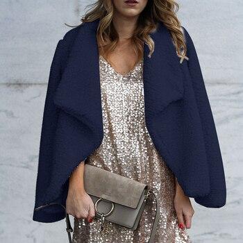 Women Fashion Solid Color Winter Warm Long-Sleeved Lapel Outwear Female Women Fluffy Faux Fur Cardigan Coat Jacket