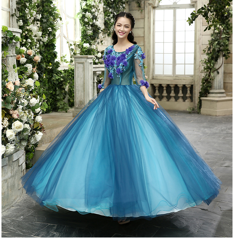 Luxury blue purple floralbeading embroidery long ball gown for Wedding dress with purple embroidery
