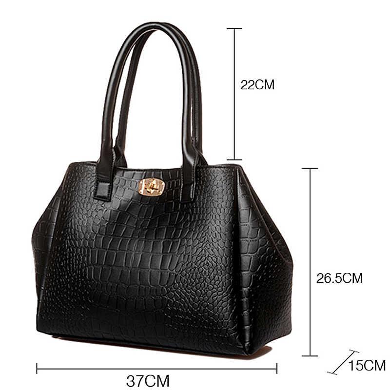 152cf554dd7f ... 2018 брендовый дизайн женская сумка Аллигатор принт кожаные сумочки  Повседневная дорожная сумка через плечо сумка кошелек ...