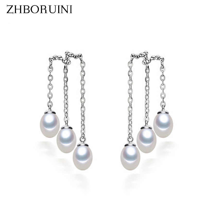 ZHBORUINI Fashion Pearl Earrings Natural Freshwater Pearl Multilayer 925 Sterling Silver Pearl Jewelry For Women Long Earring