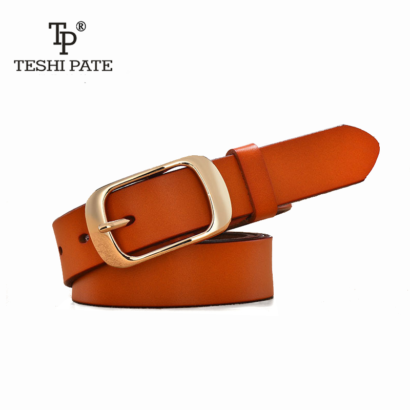 New Designer Fashion Womens Belts Genuine Leather Brand Straps Female Waistband Pin Buckles Fancy Vintage for Jeans TESHI PATE