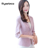 Ryseleco 2018 Spring 3 4 Sleeve Slim Elegant Women Blazers Coats Pockets Notched Office Lady Single