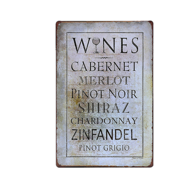 New Arrival Wines Words Vintage Metal Signs Home Decor Tin Sign Pub Bar Cafe Decorative Plates Wall Art Poster A937