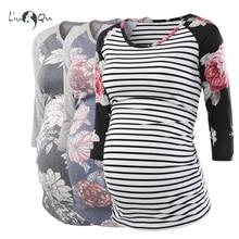 Комплект из 3 предметов; блузка; Одежда для беременных с рюшами сбоку; топы для беременных женщин; топ в полоску с цветочным рисунком; Одежда для беременных; женская рубашка