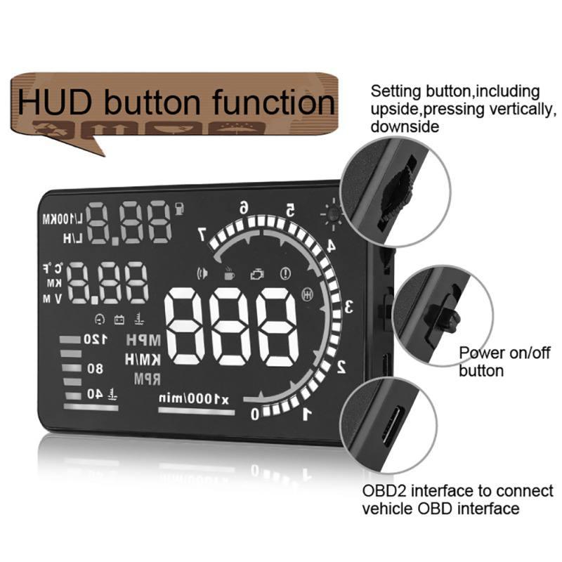 Car HUD Head Up Display 5.5 A8 Car GPS Overspeed Warning System OBD2/EUOBD Universal Car Accessories