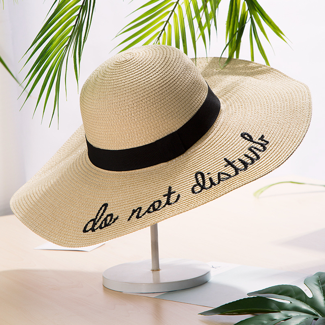 915815c2 Brand New Letter Embroidery Big Brim Sun Hats Straw Hats For Women Summer  Hat Panama Ladies