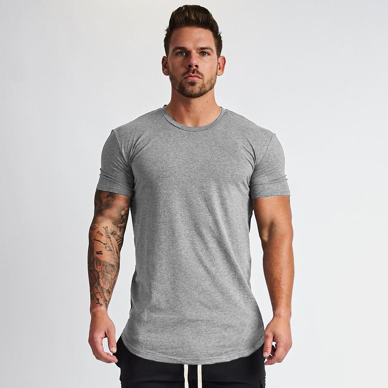 Muscleguys New Plain Clothing fitness   t     shirt   men O-neck   t  -  shirt   cotton bodybuilding tee   shirts   crossfit tops gyms tshirt Homme
