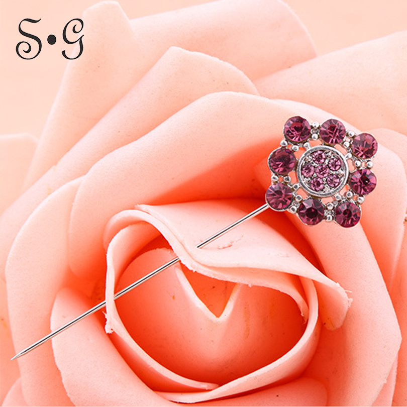 Wholesale 12pcs/pack square flower crystal Women Safety Scarf Pin New Hijab Pins Rhinestone Muslim Hijab Brooches women brooch