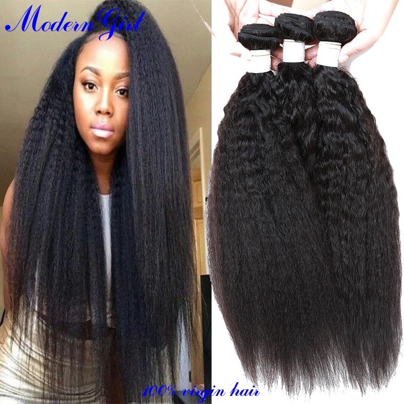 7a Mongolian Kinky Straight 3pcs Human Hair Weave Coarse Yaki