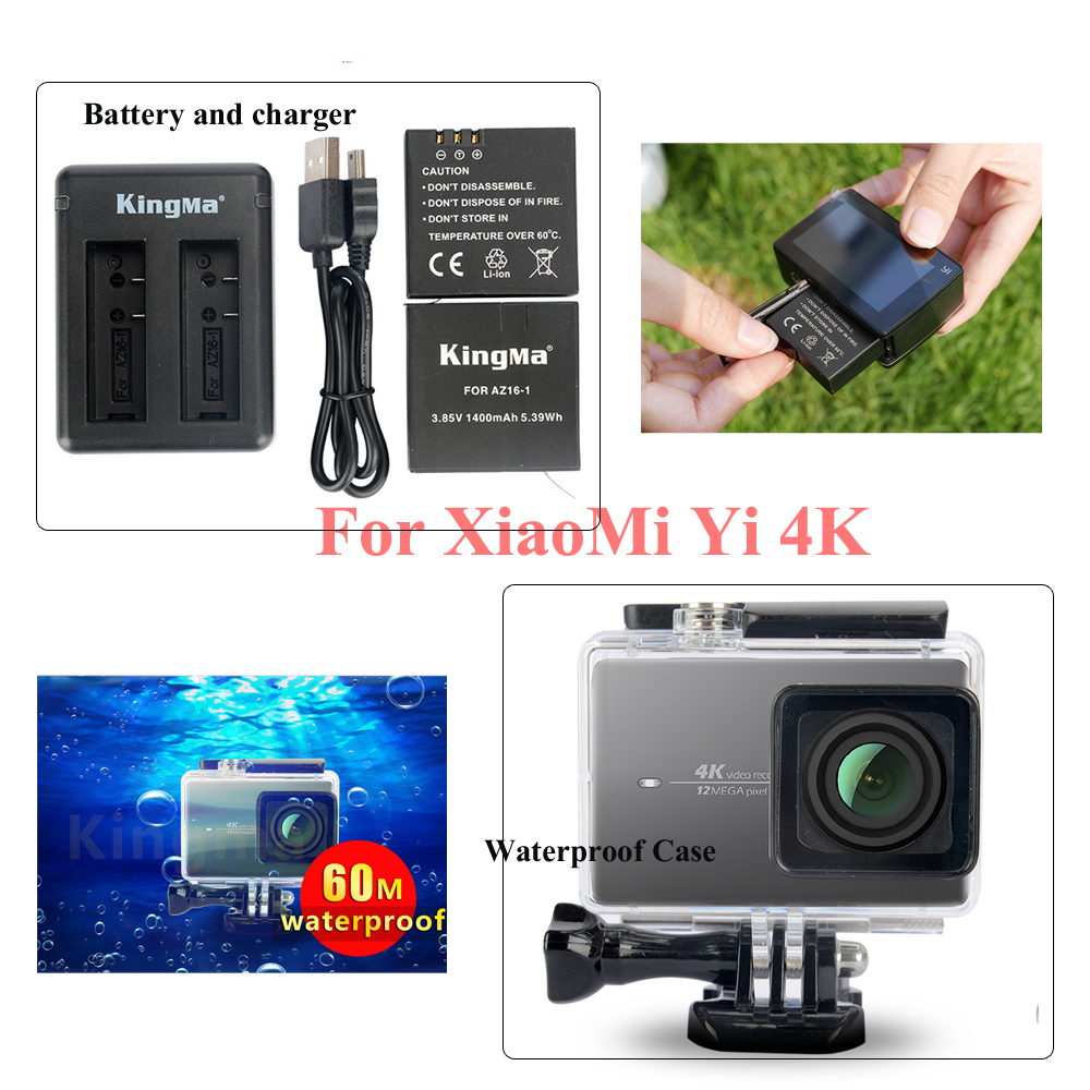 Original KingMa Xiaomi Yi 4K 2 Battery Charger 60M Diving Waterproof Housing Case For XiaoYi II