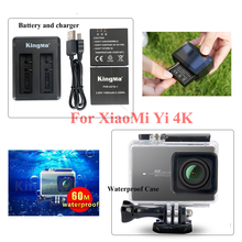 Original KingMa Xiaomi Yi 4K 2 Battery&Charger+60M Diving Waterproof Housing Case For XiaoYi II Sports Action Camera Accessories