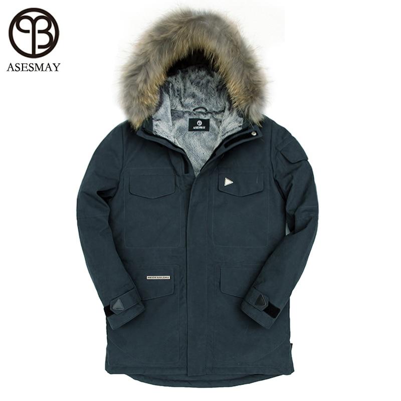 Asesmay Mens Winter Jacket Thick Natural Fur Long Coat 90% White Duck Down Hood Collar Casual Men Down Jacket Snow Mens Parkas