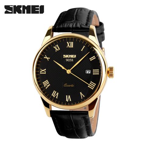 SKMEI Women Dress Watches Luxury Lovers Couple Watches Men Date Waterproof Women Leather strap Quartz Wristwatch Montre Homme Lahore