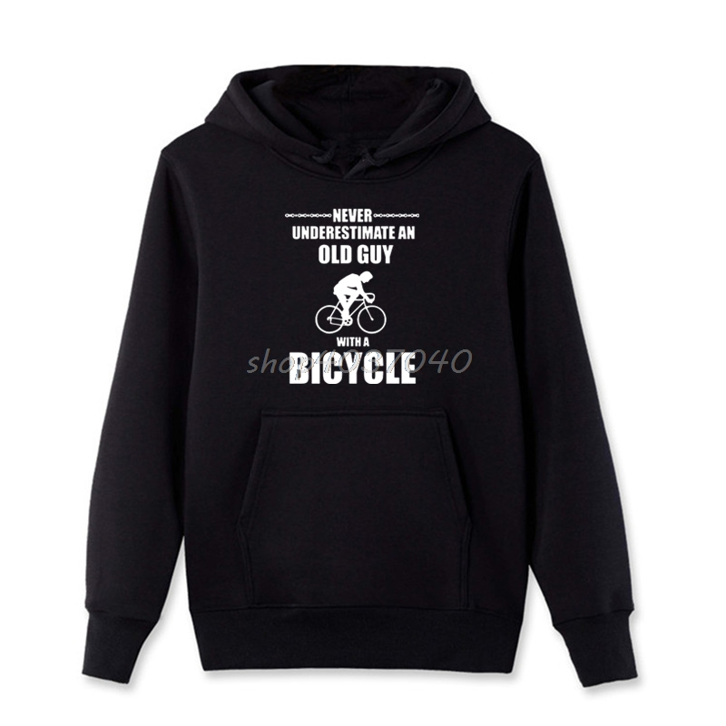 Never Underestimate An Old Man With A Motorcycle Mens Funny Biker Hoodie Bike