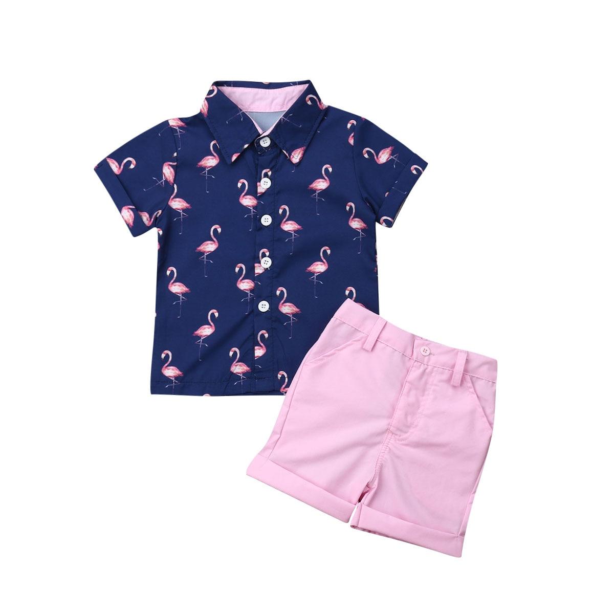 d714036255f9 Pudcoco 2019 Summer Toddler Kid Baby Boy Clothes Outfits Sets Beach  Flamingo Shirt Tops Shorts Pants Set ~ Free Shipping July 2019