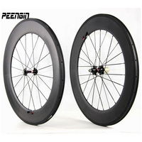 hand build cheap road bike wheels carbon fiber wheelset for sale tubular aro clincher rim cycle parts S80 sticker can be offered