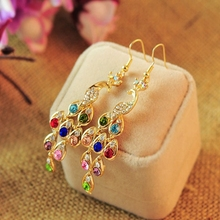 цена на Multicolour Water Drop Rhinestone Crystal Gold Ethnic Vintage Hook Hanging Dangle Drop Earrings for Women