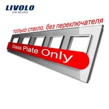 Livolo Luxo Cinza Cristal Interruptor Do Painel de Vidro, 364mm * 80mm, padrão DA UE, Quintuplicar a Tomada Do Painel de Vidro Para A Parede, VL-C7-5SR-15