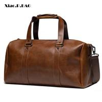 New Vintage Crazy horse pu Leather Men Travel Bags Luggage Travel Bag Leather Men's Duffle Bags Large Men Weekend Bag