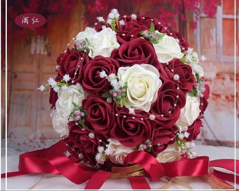 2017 Cheap 8 colors choice Wedding Bouquet PinkRedWhiteBurgundyPurpleFuchsia Bridal