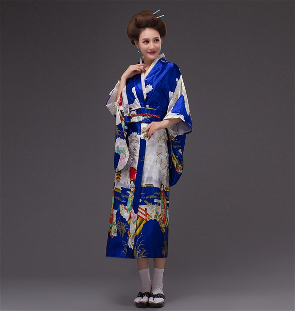 2019 New Blue Yukata Japanese Women's Silk Kimono Vintage Original Tradition Dress With Obi One Size