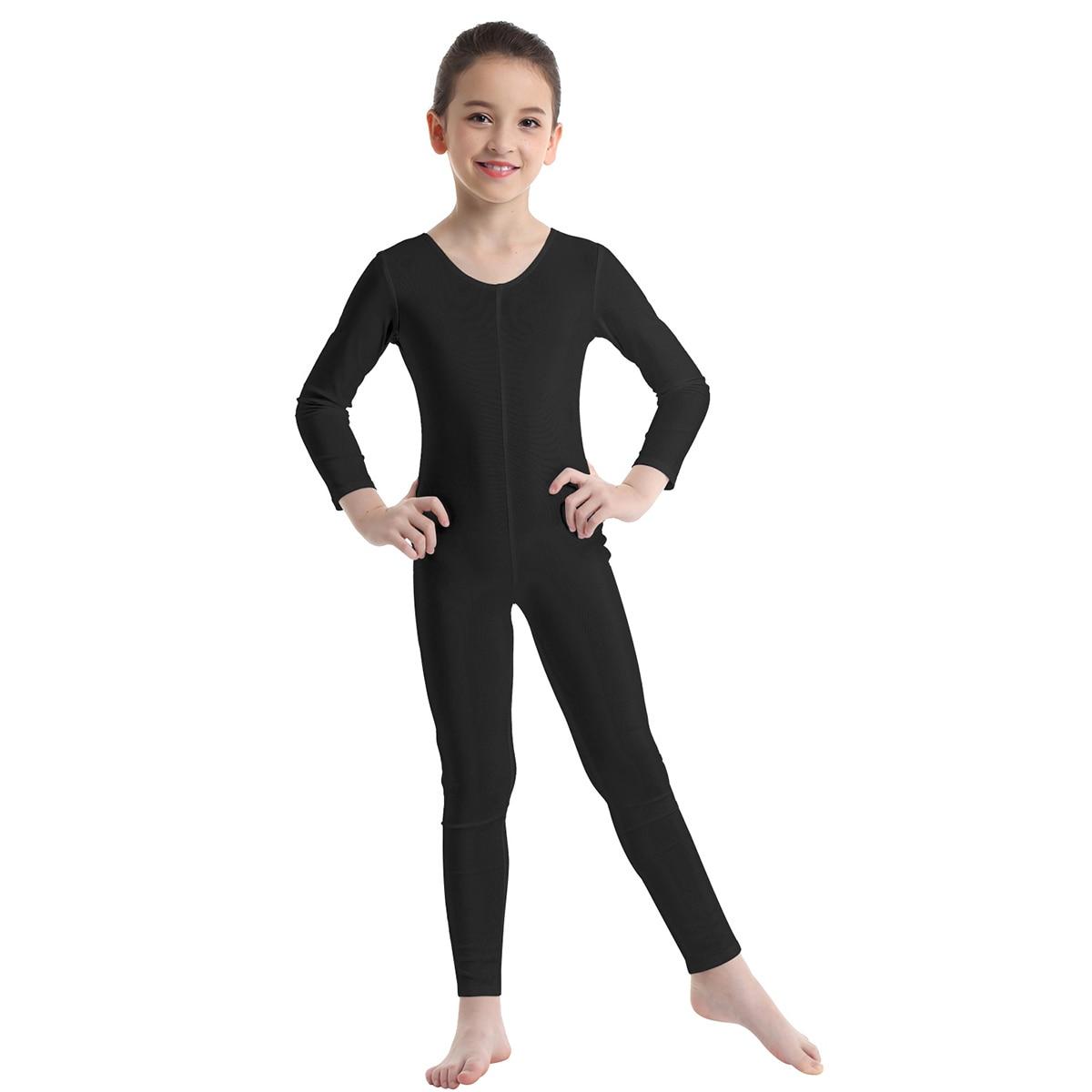 Kids Girls Gymnastics Ballet Dance Leotard Unitard Long Sleeve Workout Jumpsuit