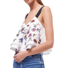2017 summer season tops informal embroidery halter prime camis ladies tops off shoulder tops sleeveless womens clothes