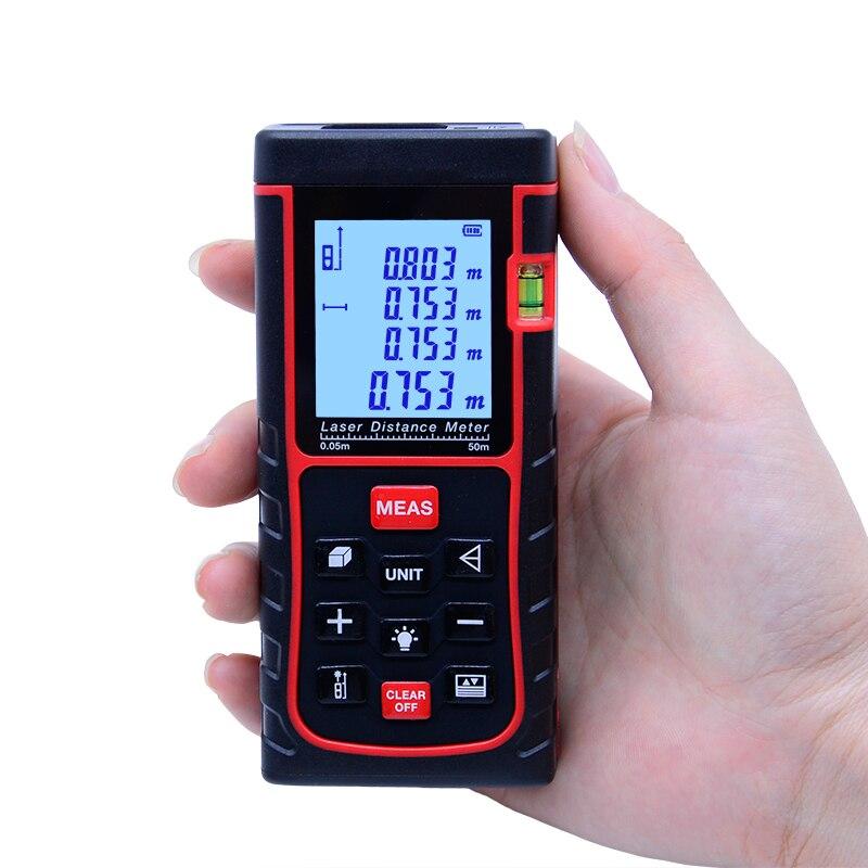 SNDWAY Digitale palmare misuratore di distanza Laser 50 M Telemetro SW-E50 Roulette Righello Range finder Misura di Nastro Area Volume trena