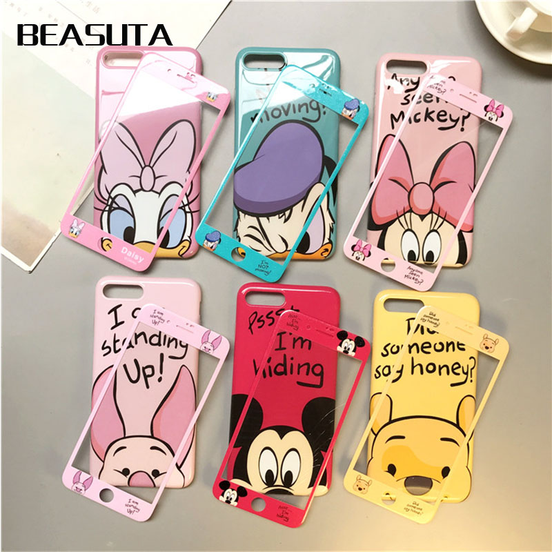 360 Full Cover Phone Case + Screen Protector for IPhone X case for Iphone 7 plus X 8 plus Coque Cartoon TPU Cover winnie the pooh iphone case