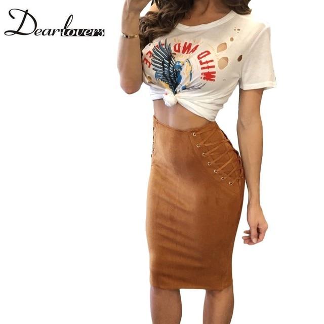 Dear lover New Year 2017 Coffee Faux Suede Skirt Fashion Lace Up Women Office Bodycon Pencil Skirts Saia Midi Feminina LC65026