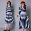 2016 Fashion Spring Autumn Women Long Sleeve linen Cotton Striped Dress Female Casual Long Slim Was thin loose Dresses Plus Size