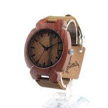 BOBO BIRD Nueva forma de Tortuga Rojo Sandalia de Madera del Reloj de Cuarzo Top Diseñador Con Movimiento Japonés Miyota y Correa de Cuero Real