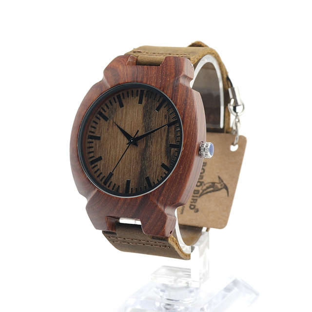 BOBO BIRD New Turtle shape Red Sandal Wooden Quartz Watch Top Designer  With Japanese Movement Miyota and Real Leather Strap