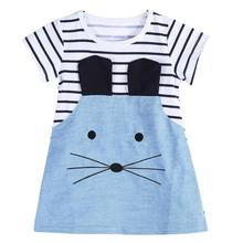 Girls Summer Dresses Baby Girl O-neck Short Sleeve Cartoon Mouse Patchwork Striped Denim Cute Mini Dress Kids Children Clothes baby clothing tutu party mini dress cute toddler clothes patchwork denim shirt dress kids baby girl long sleeve denim tulle 1 6t